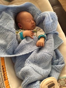 Carole created the pattern knitted this beautiful baby blanket.